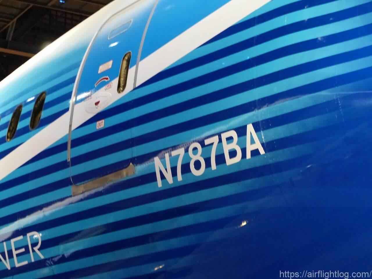 「FLIGHT OF DREAMS(フライト・オブ・ドリームズ)」ボーイング787初号機機体番号