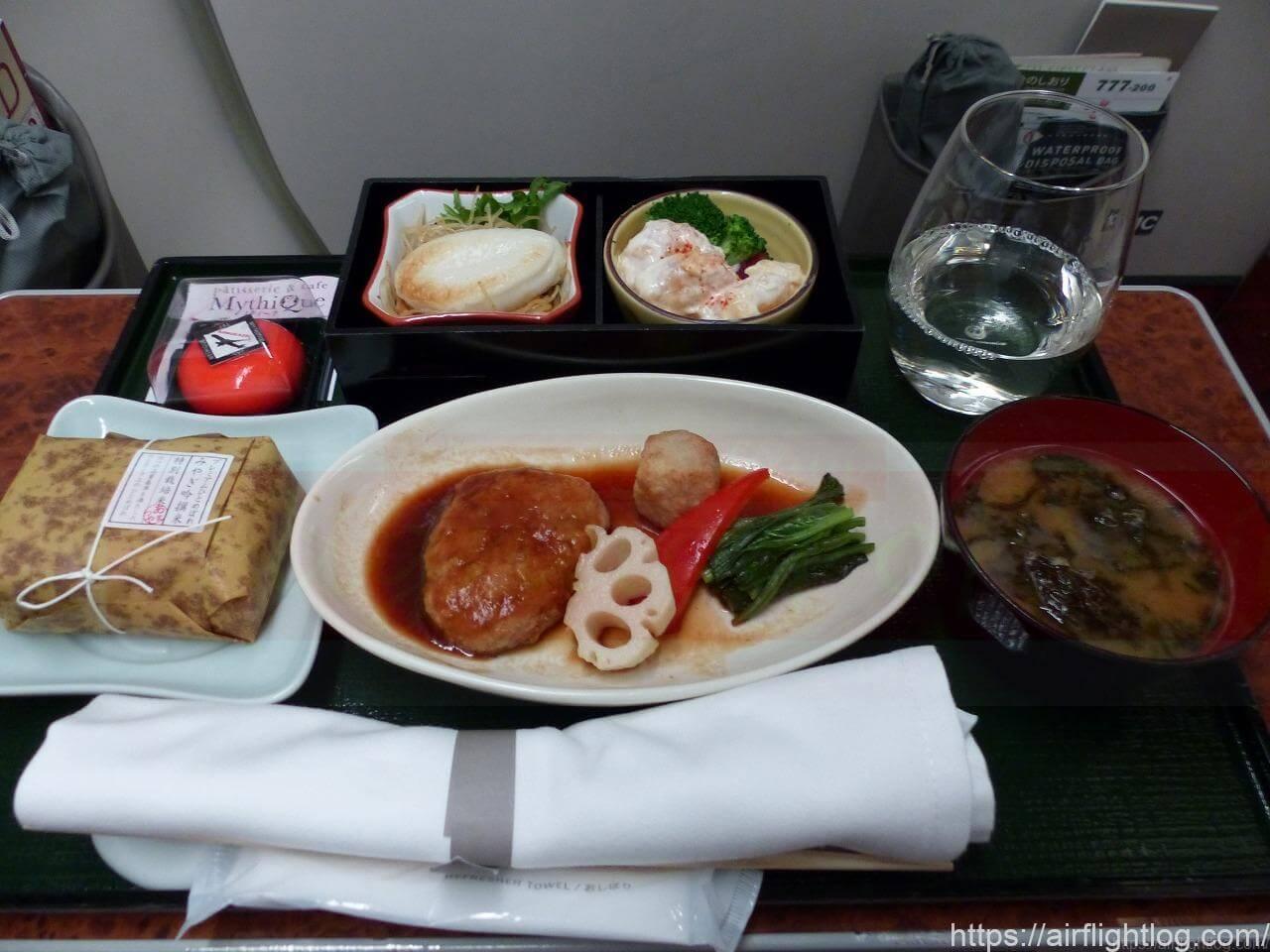 ボーイング777-200国内線ファーストクラス機内食(夕食)