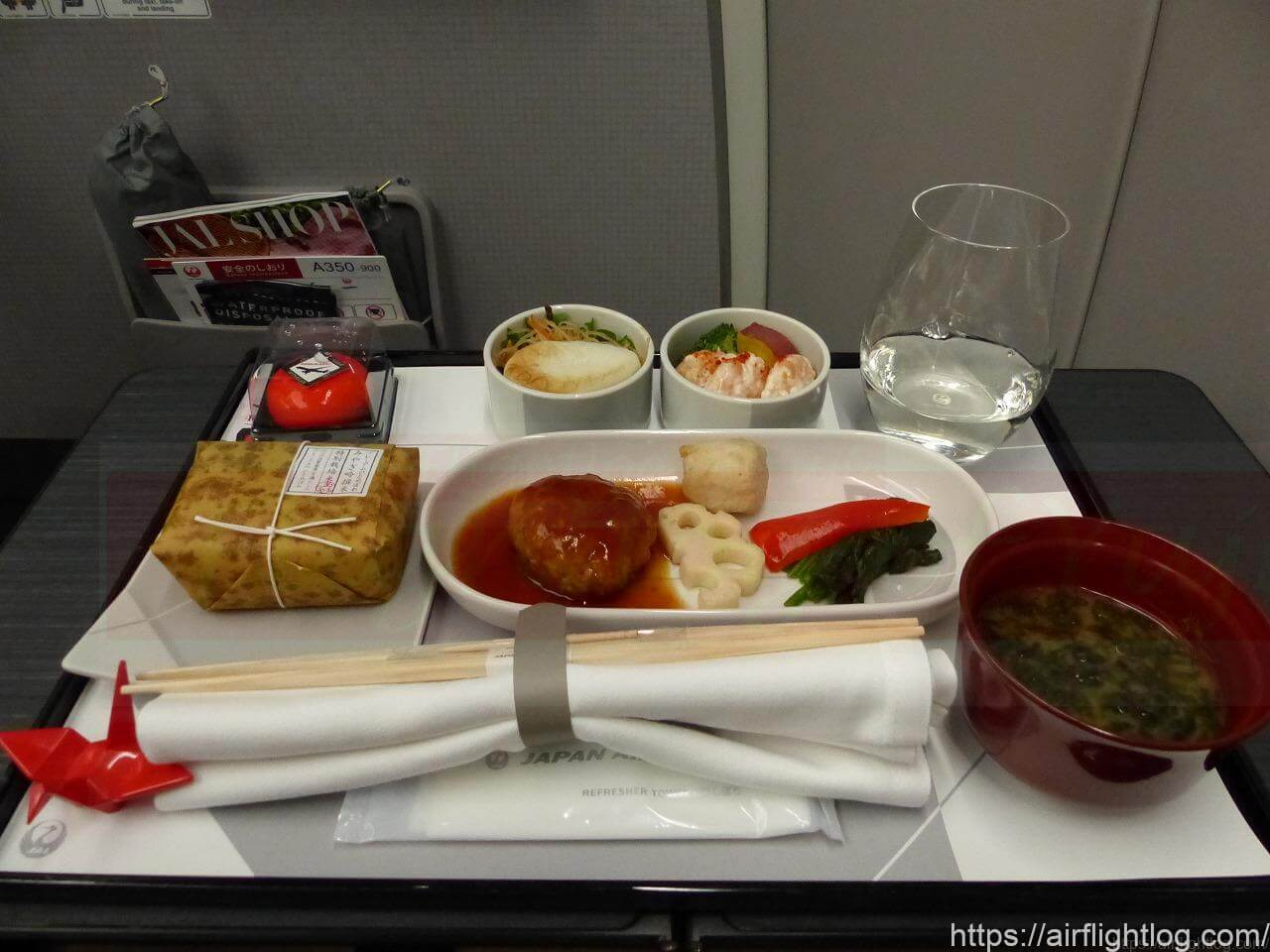 JALA350-900国内線ファーストクラス機内食(夕食)